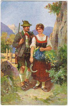 """Vintage postcard art, painting from Germany, called """"Bayrische Trachten"""", artist unknown."""