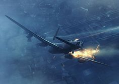 Lancaster Engine Fire by Piotr Forkasiewicz