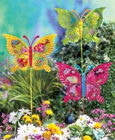 Garden Stake Set Butterfly Markers Lawn Yard 3D Decor Metal Accent Butterflies