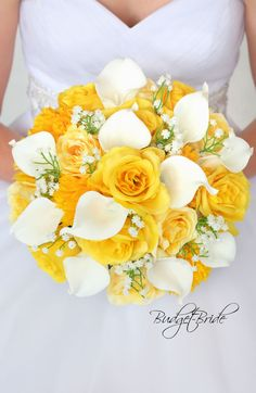 Buttercup Davids Bridal Wedding Bouquet in Yellow and White with Babies Breath a. - Buttercup Davids Bridal Wedding Bouquet in Yellow and White with Babies Breath and calla Lilies - Yellow Rose Bouquet, Yellow Bouquets, Calla Lily Bouquet, Calla Lillies, Yellow Roses, Pink Roses, Lily Wedding, Rose Wedding Bouquet, Prom Bouquet
