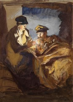 """In An Ambulance"" by Olive Mudie-Cooke (WWI) at the Imperial War Museum, London - From the curators' comments: ""In January 1916, Olive Mudie-Cooke went to France where she served as an ambulance driver with the First Aid Nursing Yeomanry (FANY) and later with the Red Cross. In 1920 the Imperial War Museum's Women's Work Sub-Committee acquired several of her drawings depicting her work with the British Red Cross Voluntary Aid Detachment units in France."""