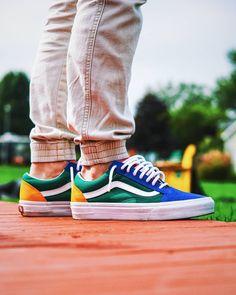 Vans Old Skool Skate Shoe - Blue / Green / Yellow Skechers Elite, Club Shoes, Blue Green, Yellow, Vans Shop, Sweet Style, Skate Shoes, Vans Old Skool, Photo Credit