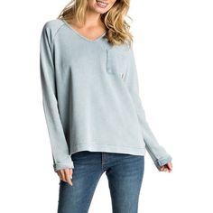 Women's Roxy Palpo Point Sweatshirt ($55) ❤ liked on Polyvore featuring tops, hoodies, sweatshirts, captains blue, blue sweatshirt, vintage sweatshirts, roxy sweatshirt, blue top and oversized sweatshirts