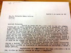 Carta de Otero Navascués, primer Director del Instituto de Óptica Daza  de Valdés a D. Fernando Pallete, felicitándole por su nombramiento y  comentando temas de la edición de un libro. Biblioteca CFMAC-CSIC