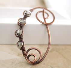 Copper shawl pin or scarf pin with wrapped silvered