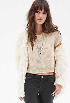 Floral-Beaded Blouse | Forever 21 - 2000138036
