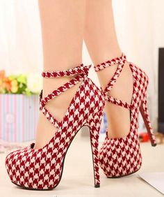 Women's Sexy Pumps lattice Vintage Red/Black Bottom Platform Strappy High Heels Party Shoes Women's Shoe Size For Kyrah Strappy High Heels, Platform High Heels, Pumps Heels, Stiletto Heels, Sexy Heels, White Heels, Red Platform, Pretty Shoes, Beautiful Shoes