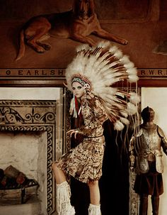 indian women did not wear war bonnets -this model dishonors native Americans by  wearing it.