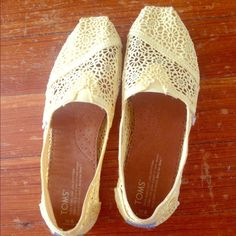 Daisy yellow crochet TOMs 🌼 These yellow shoes are so cute and girly, and super comfortable! Never been worn! TOMS Shoes