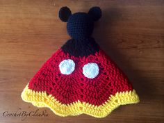 Mickey Mouse Inspired Lovey/ Security Blanket/ Amigurumi Doll/ Crochet Mickey Mouse -- Made To Order Crochet Mickey Mouse, Crochet Disney, Crochet Crafts, Crochet Toys, Crochet Projects, Crochet Clothes, Crochet Lovey, Crochet Afghans, Lovey Blanket