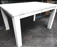 Big, solid, lovely chalk painted table. This piece is epic! Bid today! https://auction.blackpearlemporium.ca/m/#/auction/30/item/stunning-chalk-painted-table-very-solid-distressed-paint-686 #collingwood #shoplocal #furniture #antiques #chalkpaint #cottage #rustic  #onlineauction