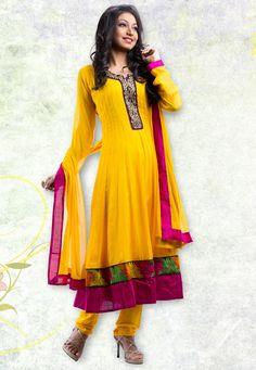#Yellow Faux Georgette Readymade #Churidar Kameez @ $94.7