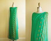 1960s Dress - Vintage 60s Dress - Emerald Green Chiffon Gold Sari Draped Goddess Maxi Gown M - Green Tea