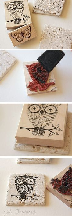 Turn Tiles into Coasters by Stamping them with Paint!