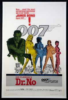 DR. NO  (1962)Sean Connery as James Bond.  Original one sheet size, 27x41 movie poster.