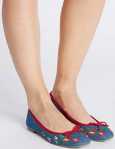 Block Heel Embroidered Pump Shoes | Marks & Spencer London
