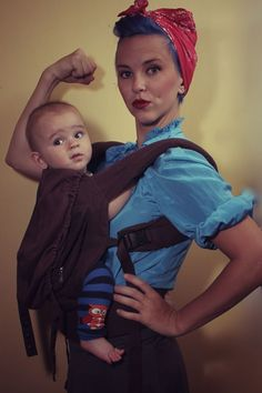 Love this!!! Rosie the Riveter Wearing an ERGO! STRAWBERRY MOHAWK: WE CAN DO IT! #ergobaby #babywearing
