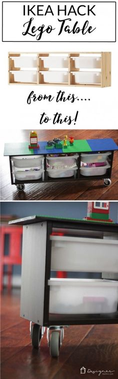 Make your own DIY lego table with this simple Ikea Hack. Perfect lego storage for your kids! Full tutorial from Designer Trapped in a Lawyer's Body. I wonder if it's cheaper to just buy the wood and some plastic shoe boxes, Table Lego Diy, Craft Tables With Storage, Table Storage, Toy Storage, Storage Ideas, Craft Storage, Storage Organization, Lego Building Table, Storage Design