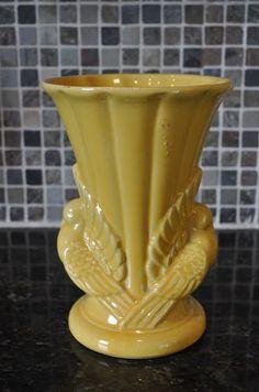 "McCoy Pottery Vase 1950's 829 Rich Yellow Double Peacocks Birds Turkey 9"" | eBay"
