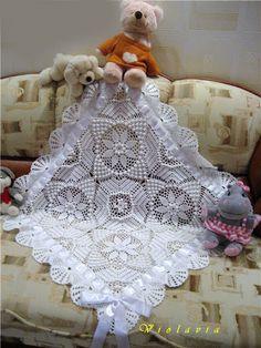 White Star Motif Baby Blanket free crochet graph pattern