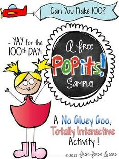 100th Day of School: Interactive Math Activity~ Free POPIT