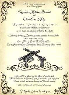 Star wars wedding invitations combined with your creativity will make this looks awesome 13
