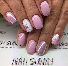 ideas for nails sencillas gelish Trendy Nails, Cute Nails, My Nails, Glitter Nails, Pink Glitter, Pointy Nails, Coffin Nails, Flower Nail Designs, Nail Designs Spring