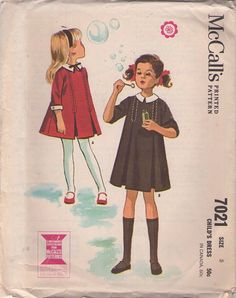 MOMSPatterns Vintage Sewing Patterns - McCall\'s 7021 Vintage 60\'s Sewing Pattern PRETTY Girls Stitch Trim Front Pleats School Days Dress