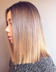 blunt shoulder length haircut and bronde hair color