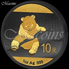GOLDEN ENIGMA: PANDA. The Ruthenium Gold Plated Silver Panda Bullion Coin 2014