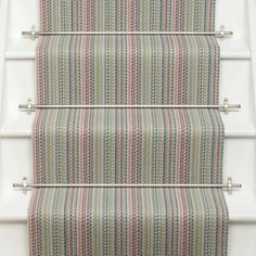 Roger Oates Kobe Jade stair runner carpet with Brushed Nickel stair rods fitted to white painted staircase Hallway Carpet, Bedroom Carpet, Stair Carpet, Bright Hallway, Painted Staircases, Carpet Shops, Porch Flooring, Carpet Styles, New Carpet