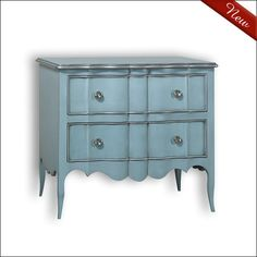 The charming Navarre Beach chest has two drawers and is beautifully detailed with a scalloped apron and tapered legs.  It has an elegant look with a light and airy feel that is sure to bring the wow factor to any room.  Choose from a large selection of gorgeous finishes.  Shown in Blue Skies with Silver trim.  $3290  For more details and to shop my boutique visit this link: https://lizann.myshopify.com/collections/furnishings/products/navarre-beach-chest