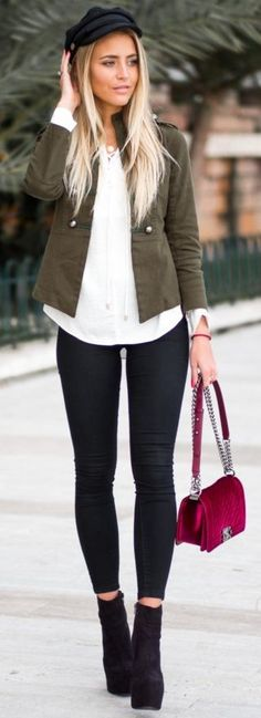 Black Old Hat, Army Green Gina Tricot Jacket, White Lindex Top, Nelly Black Jeans, Chanel Red Velvet Bag, Black Janni Shoes | Teenage Casual Winter Street Style | Janni Delér