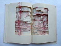 Germany based artist Ines Seidel uses books as the background in a landscape. Crisscrossing the landscape with string, Seidel embeds rocks, fastens folded packets of paper, and stitches independently cut words into the book. About the work...