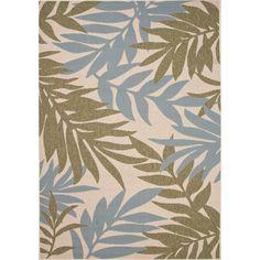 Jaipur Rugs IndoorOutdoor Floral Pattern Green/Blue Polypropylene Area Rug BLO01 (Rectangle)
