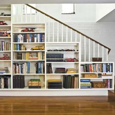 Built in shelving under stairs.