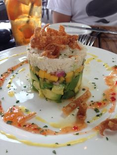 Crab Napoleon (lump crab, avocado, fruit salsa)