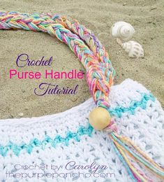 Crochet Ideas Unique Crochet Purse Handle With Beads And Fringe Tutorial – The Purple Poncho - A tutorial on the crochet purse handle with beads and fringe that I made for the Beach Day Tote Bag, which is part of the Crochet For Kids, Free Crochet, Unique Crochet, Purse Patterns, Crochet Patterns, Crochet Designs, Easy Crochet Projects, Crochet Tutorials, Crochet Ideas