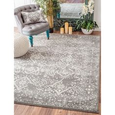 nuLOOM Vintage Floral Ornament Silver Area Rug (8' x 10') - Free Shipping Today - Overstock.com - 17681872 - Mobile