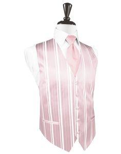 Pink Striped Satin Tuxedo Vest