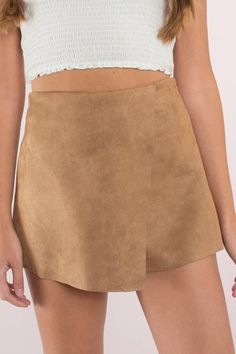 a3e61e778f9b44 Let It Burn Camel Faux Suede Skort Let It Burn