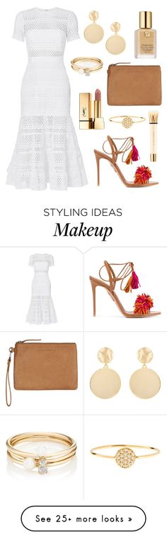 """Tassels"" by tasha-m-e on Polyvore featuring self-portrait, Aquazzura, Status Anxiety, Yves Saint Laurent, Mounser, Estée Lauder, Loren Stewart and AND"