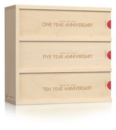Wedding Gift:  The buyer gets to choose the box, wine, the message on the box, as well as a note on the inside of the lid. I like that each step is personalized for the couple. You could even put: 1 year Anniversary, 1st House, and 1st child.