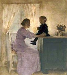 A mother and child in an interior - 1898 - Peter Vilhem Ilsted