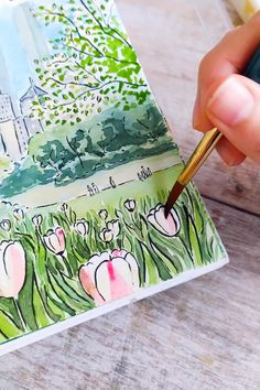 Watercolor Paintings For Beginners, Watercolor Art Lessons, Watercolor Landscape, Watercolour, Small Canvas Art, Diy Canvas Art, Art Drawings Sketches Simple, Sketches Of Nature, Central Park