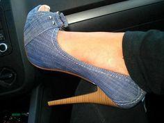 #Denim Bow Shoes