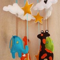 Jungle Baby Mobile with Giraffe, Elephant, Cloud. Giraffe, Elephant, Having A Baby, Baby Room, New Baby Products, Activities For Kids, Plush, Clouds, Crafty