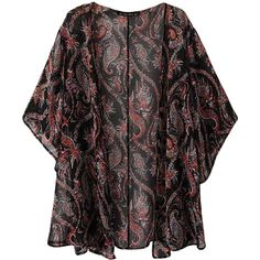 Brown Cool Ladies Sheer Paisley Printed Chiffon Kimono Coat ($22) ❤ liked on Polyvore featuring outerwear, coats, kimono, cardigans, casacos, jackets, brown, chiffon coat, kimono coat e black chiffon kimono