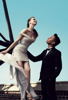 model Elettra Wiedemann with designer Prabal Gurung