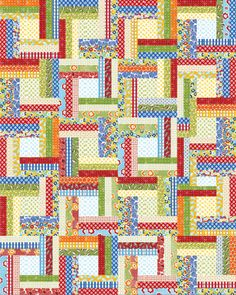 Off The Rail quilt, x pattern by Julie Herman of Jaybird Quilts as seen at Robert Kaufman. Jaybird Quilts, Jellyroll Quilts, Scrappy Quilts, Easy Quilts, Quilting Tips, Quilting Designs, Modern Quilting, Quilting Fabric, Patchwork Quilting